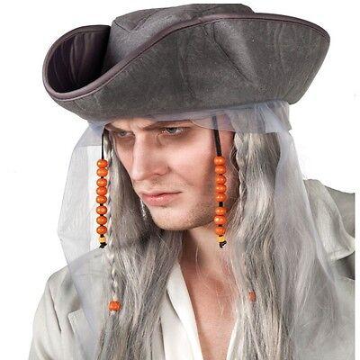 Geisterpirat Perücke mit Piratenhut - Halloween Karneval Kostüm - Halloween Pirat Zubehör