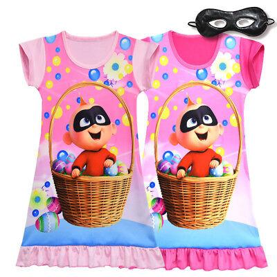 New Cute Girl Incredible Jack-Jack Pajamas Nightgown Sleepwear Dress B5C (Cute Girl Pajamas)