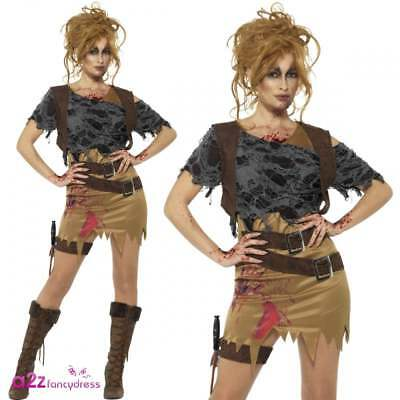 WOMENS DELUXE ZOMBIE HUNTRESS TOMB RAIDER ADULT HALLOWEEN FANCY DRESS - Tomb Raider Kostüm Halloween