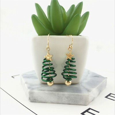 Fashion Women Star Christmas Tree Earrings Dangle Hook Ear Drop Green Ornaments