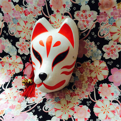 Japanese Hand-Painted Fox Mask Kitsune Cosplay Full Face Masquerade Halloween