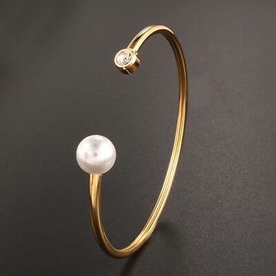 Damen Armreif Armspange Armand offen Gold Edelstahl Kristall Perle Arm Schmuck  (Armreif Perle Armband)