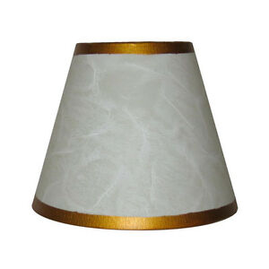 "4 - 5.5"" White and Gold Parchment Chandelier Shades"
