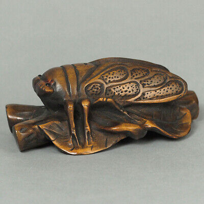 Japanese 1940's Netsuke Boxwood Wood Handcrafted Cicada Carving WN456