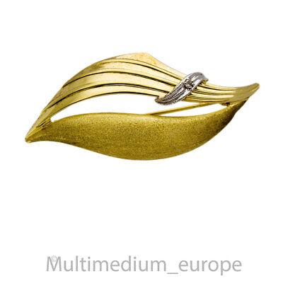 Vintage 333er Gelbgold Weißgold Brosche Diamant gold brooch diamond 🌺🌺🌺🌺🌺