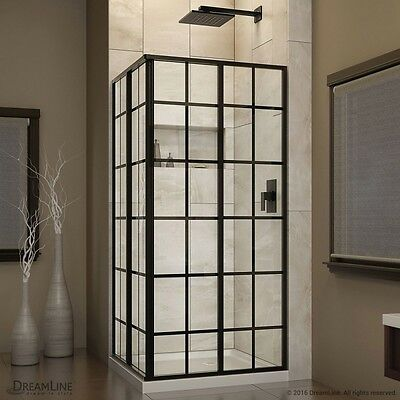 FRENCH CORNER 34-1/2 x 34-1/2 x 72 in. H Sliding Shower Hedge in Satin Black