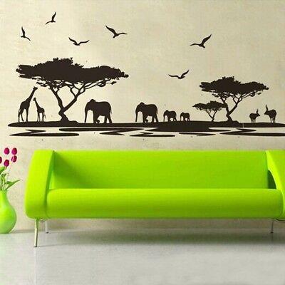 Jungle Animal Mural (Wall Sticker African Safari Jungle Wild Animal Mural Decal Sticker Art Decor #FA )