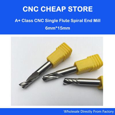 2pcs Hq Aluminum Single Flute Spiral Cutting Tools Cnc Router Bits 6mm 15mm