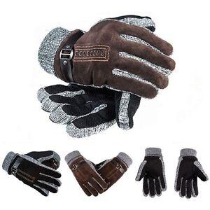 gants militaire tricot cuir doigt moto v lo conduite sport moufles hiver hommes ebay. Black Bedroom Furniture Sets. Home Design Ideas
