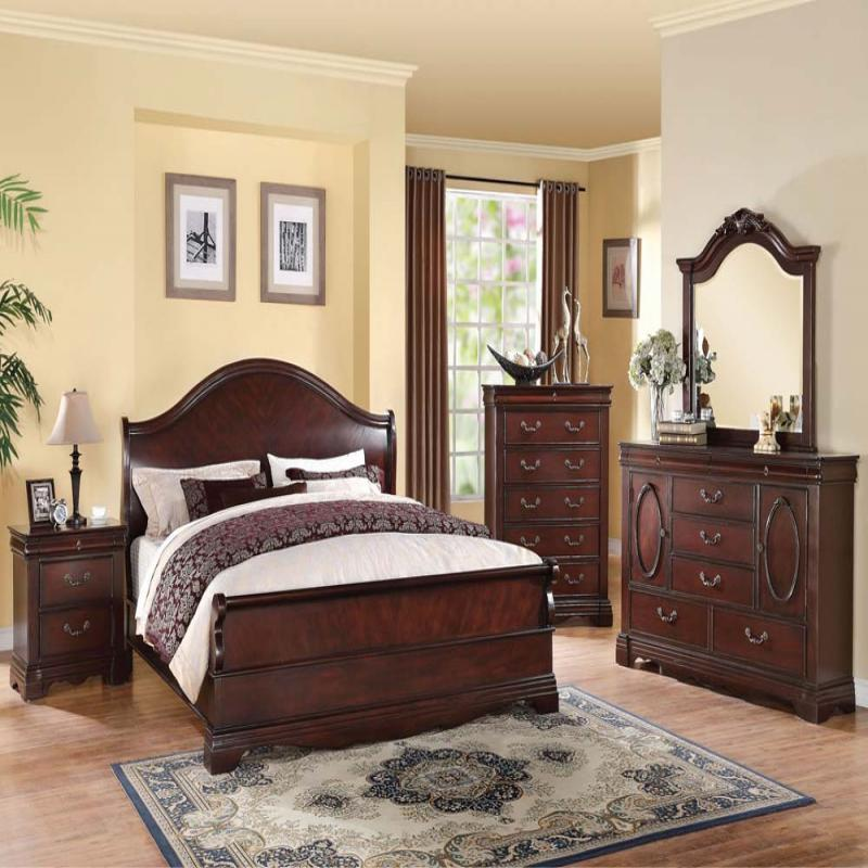 Formal Luxury Antique Beverly Cherry Queen Size 4 Piece Bedroom Set Furniture