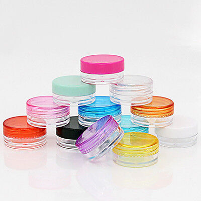 10 Plastic Cosmetic Box Empty Jar Nail Art Storage Container Round Bottle Makeup