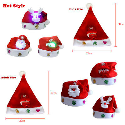 Hot Kids & Adult & LED  Christmas Hat Santa Claus Reindeer Snowman Xmas Gift - Christmas Santa Hat