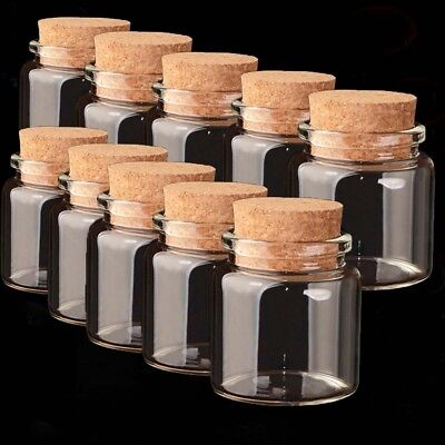 1/10Pcs 50ml Clear Glass Bottles Small Empty With Cork Lid Transparent Vial - Bottles With Corks