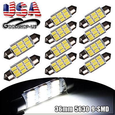 10X White 36mm 5630 9SMD Festoon Dome Map License Plate LED Light Bulbs C5W 6418