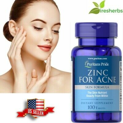 #1 BEST ZINC FOR ACNE SKIN HEALTH REDUCE APPEARANCE SCARS SUPPLEMENT 100 (Best Tablet For 100)