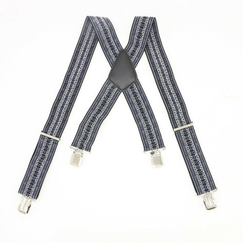 "Mens 2"" Wide Heavy Duty Suspenders Adjustable Clip On Work B"