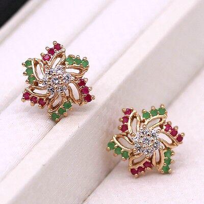 Wedding Stud Earrings Ruby Emerald Crystal 18K Yellow Gold Plated Women (Emerald Wedding Earrings)