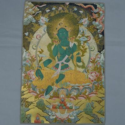 Painting Mural Thangka Tibet Buddhism Silk Satin Dragon Green Tara Guan Yin