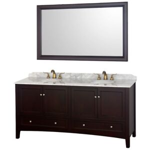 "Brand New 72"" Espresso Brown Bathroom Vanity"