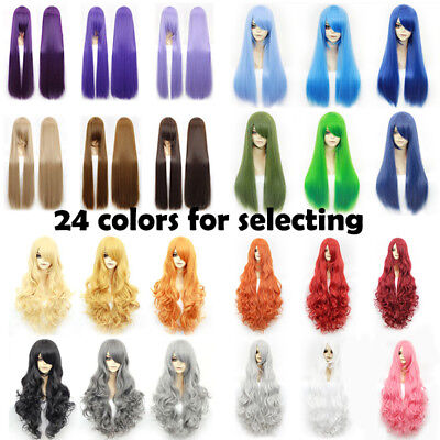 24 colors Cosplay Wig Black Red Brown Long Straight Wavy Women Anime Full Hair - Black Red Wig
