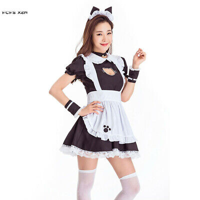 Halloween Cat Catwoman Animal Costumes for Women Bar Girl Maid Waitress Cosplays