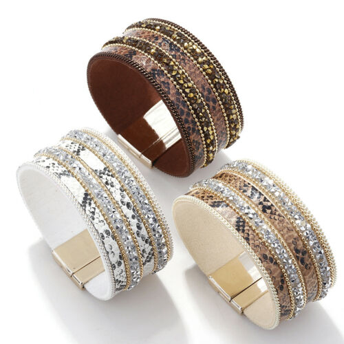 Vintage Women Bohemian Wide Leather Rhinestone Crystal Beads Magnetic Bracelet