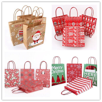 18 Style Christmas Kraft Paper Gift Bag Brown With Handle For Festival Shopping - Brown Paper Bags With Handles