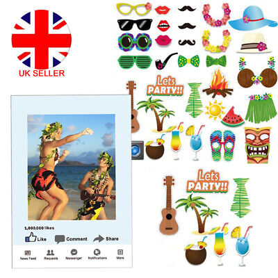 Hawaiian Luau Tiki Photo Booth Frame Selfie Props Tropical Beach Party Holiday
