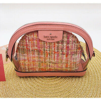 Kate Spade Sylvia See-through Tweed Pink Multi Cosmetic Pouch Makeup Bag NWT