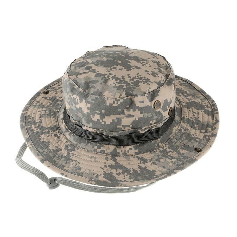 Camouflage Military Boonie Hat Tactical Ripstop Combat Caps Wide Brim Bucket  Hat 8902f9f87795