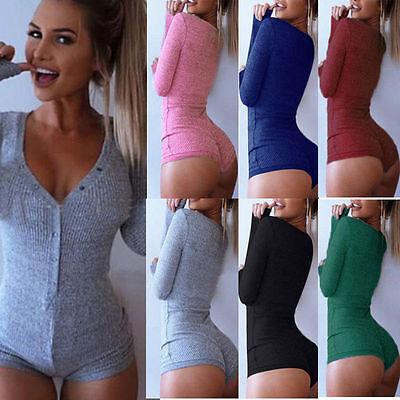 Women's Bodycon Bodysuit V Neck Long Sleeve Bandage Jumpsuit Romper Leotard Top