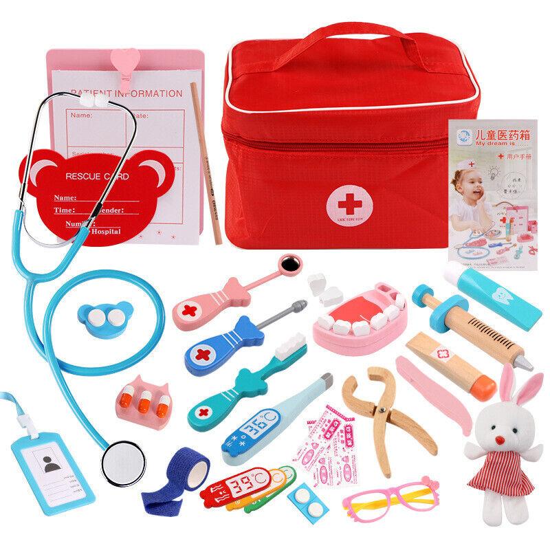 Arztkoffer Kinder Holz Arzt Spielzeug Medizinisches Doktor Rollenspiele DE DHL