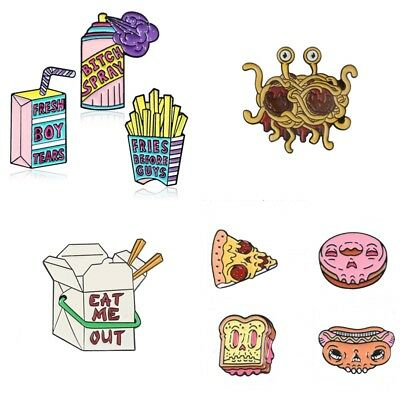 Funny Foods Fruits Banana Bread Hotdog Flying Spaghetti Monster Brooch Badge Pin