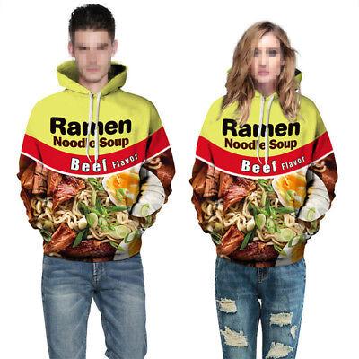 Ramen Noodle Soup Chicken Foods 3D Graphic Print Funny Men's Hooded Sweatshirts*