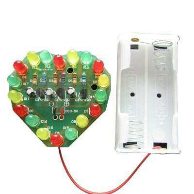 1set Love Heart Shaped Colorful Led Flash Light Kits Diy Electronic Repair Parts