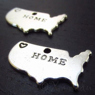 Continental United States Map Antiqued Silver Plated Charms C8599 - 5, 10, 20PCs