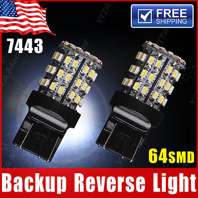 2X White 7443 Backup Reverse LED Light Bulbs 64-SMD 7440 7444 7441 992 992A W21W