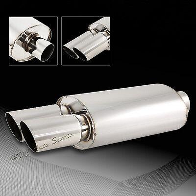 "Universal 3"" Dual Slant Tip Stainless Steel 2.5"" Inlet Weld-on Exhaust Muffler"