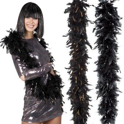 Federboa Glamour Boa Federschlange schwarz mit Gold oder - Schlange Kostüme