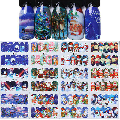 (Nail Art Water Decals Transfer Stickers Christmas Tree Snow Deer Manicure Tips)