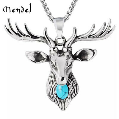 MENDEL Mens Stag Buck Deer Head Pendant Necklace Turquoise Stainless Steel Chain