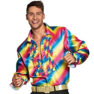 Regenbogen Rüschenhemd Gr L 50/52 Herren Hemd 70er 80er Party Rainbow Shirt #172