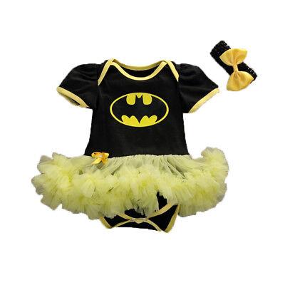 Baby Batman Outfit (US Stock Newborn Baby Girls Batman Outfits Bow headband Tutu Romper Dress)