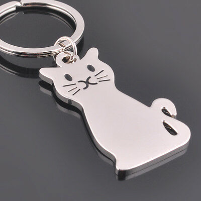 Fashion Cat Keychain Keyring Silver Plated Key Chain Ring Women