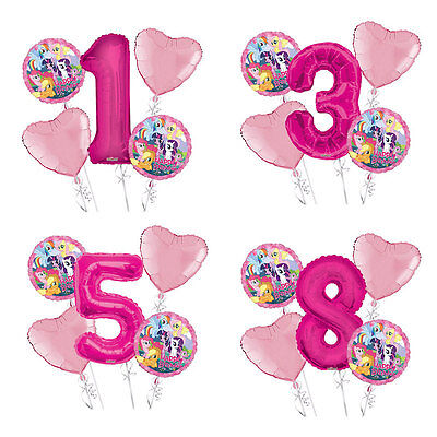 My Little Pony Happy Birthday 1-9 Balloon Bouquet 5 pcs Girls Birthday Party - Little Girls Birthday Party
