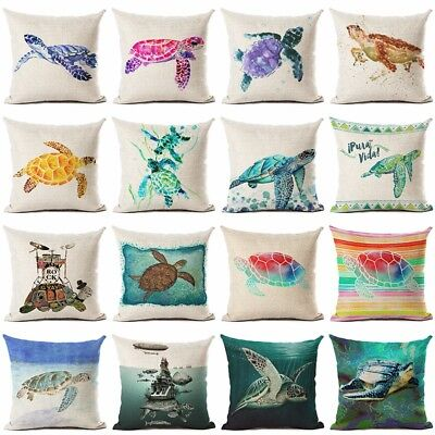 Ocean Style Sea turtle Throw Pillow Cushion Cover Home Decor Printed Linen - Sea Turtle Pillow