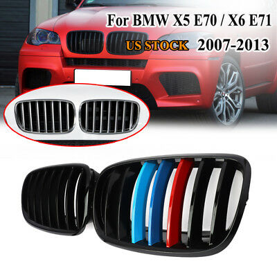 2X FOR BMW E70 SUV X5 X6 FRONT GRILLS GRILLE KIDNEY GLOSS BLACK M-COLOR X6M X5M