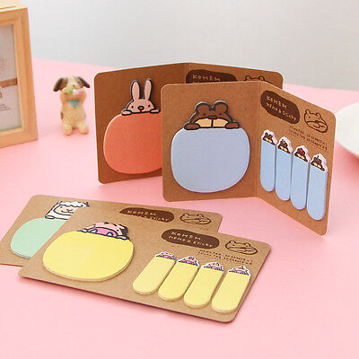 Cute Animal Kraft Paper Mini Sticky 4 Styles Notes Memo Pad Gift Stationery New