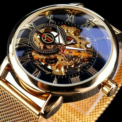 Men Skeleton Mechanical Wrist Watch Stainless Steel Luxury Steampunk Wristwatch
