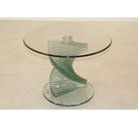 Two Cordoba Twisted Stem Clear Glass Side Tables